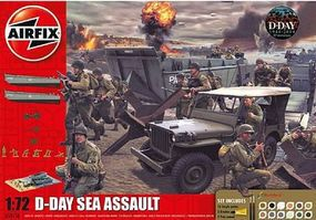 Airfix D-Day Sea Assault Gift Set with Paint & Glue Plastic Model Airplane Kit 1/72 Scale #50156