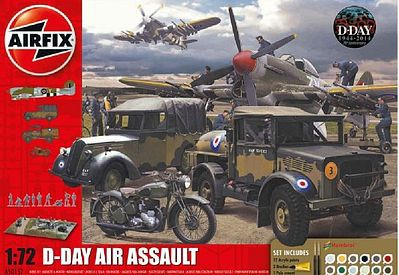 Airfix D-Day Air Assault Gift Set with Paint & Glue Plastic Model Airplane Kit 1/72 Scale #50157