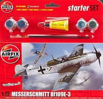 Airfix Messerschmitt Bf 109E Starter Set Plastic Model Airplane Kit 1/72 Scale #55106