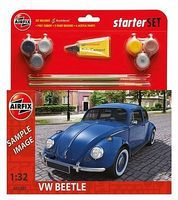 Airfix VW Beetle Car Medium Starter Set with Paint & Glue Plastic Model Car Kit 1/32 Scale #55207