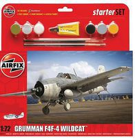 Airfix F4F4 Wildcat Aircraft Starter Set Kit Plastic Model Airplane 1/72 Scale #55214