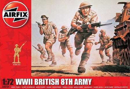 Airfix WWII British 8th Army Figure Set Plastic Model Military Figure Kit 1/72 Scale #709
