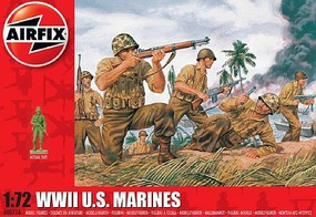 Airfix WWII US Marines Figure Set (Re-Issue) Plastic Model Military Figure 1/72 Scale #716