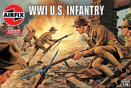Airfix WWI US Infantry Figure Set (Re-Issue) Plastic Model Military Figure Kit 1/72 Scale #729