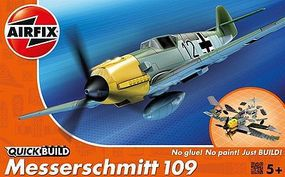Airfix Messerschmitt Bf109 Fighter Quick Build Snap Tite Plastic Model Aircraft Kit #j6001