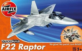 Airfix F22 Raptor Fighter Quick Build Plastic Model Airplane Kit #j6005