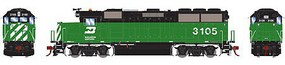 Athearn HO GP50 w/DCC & Sound, BN/Green & Black #3105