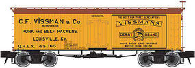 Atlas 36 Wood Reefer C.F. Vissman & Co. QREX HO Scale Model Train Freight Car #20002701