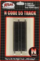 Atlas Code 55 3 Straight Track (3) N Scale Nickel Silver Model Train Track #2004