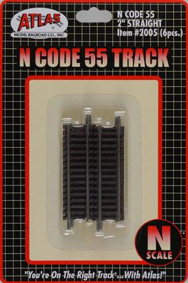 Atlas Code 55 2 Straight Track (6) N Scale Nickel Silver Model Train Track #2005