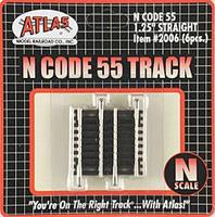 Atlas Code 55 1-1/4 Straight (3) N Scale Nickel Silver Model Train Track #2006