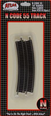 Atlas Code 55 10 Radius Curve (6) -- N Scale Nickel Silver Model Train Track -- #2010