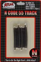 Atlas Code 55 10 Radius Half Curve NS (6) N Scale Nickel Silver Model Train Track #2011