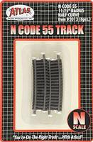 Atlas Code 55 11-1/4 Radius Half Curve NS (6) N Scale Nickel Silver Model Train Track #2013