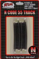 Atlas Code 55 Track 13-3/4 Radius Half Curve pkg(6) N Scale Nickel Silver Model Train Track #2017