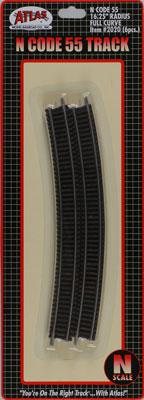 Atlas Code 55 16-1/4 Full Curve (6) N Scale Nickel Silver Model Train Track #2020