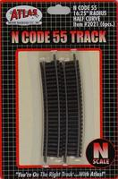 Atlas Code 55 Track 16-1/4 Radius Half Curve pkg(6) N Scale Nickel Silver Model Train Track #2021