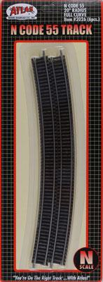 Atlas Code 55 20 Radius Full Curve NS (6) N Scale Nickel Silver Model Train Track #2026