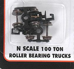 Atlas (bulk of 12) 100-Ton Roller Bearing Trucks w/Rapido Couplers -- N Scale Model Train Parts -- #22070