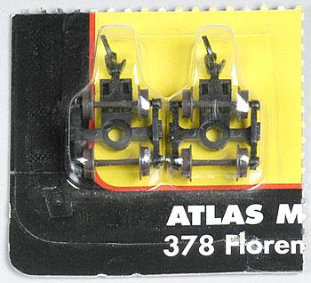 Atlas 40-Ton Friction Bearing Trucks w/Couplers (2) -- N Scale Model Train Parts -- #22076