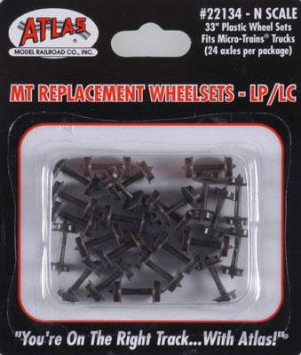 Atlas Plastic 33'' Low Profile Replacement Wheelsets -- N Scale Model Train Trucks -- #22134