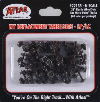 Atlas Plastic 33'' Low Profile Replacement Wheelsets -- N Scale Model Train Trucks -- #22135