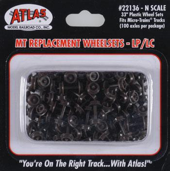 Atlas Plastic 33'' Low Profile Replacement Wheelsets -- N Scale Model Train Trucks -- #22136