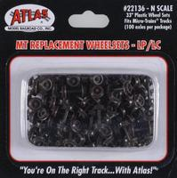 Atlas Plastic 33 Low Profile Replacement Wheelsets N Scale Model Train Trucks #22136