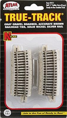 Atlas Code 65 Tru-Track(R) - 1/2 11'' Radius Curve -- N Scale Nickel Silver Model Train Track -- #2411