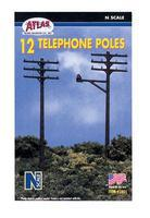 Atlas Telephone Poles (12) N Scale Model Railroad Trackside Accessory #2801