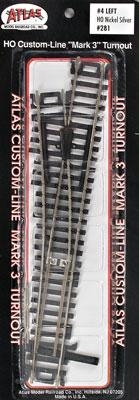 Atlas Code 100 #4 Turnout LH N/S Mk4 -- HO Scale Nickel Silver Model Train Track -- #281