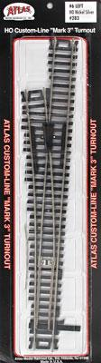 Atlas Code 100 #6 Turnout LH N/S Mk4 -- HO Scale Nickel Silver Model Train Track -- #283