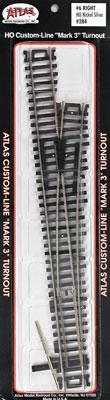 Atlas Code 100 #6 Turnout RH N/S Mk4 HO Scale Nickel Silver Model Train Track #284