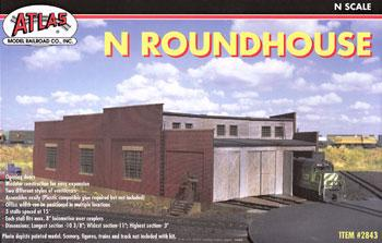 Atlas Roundhouse Kit -- N Scale Model Railroad Building -- #2843