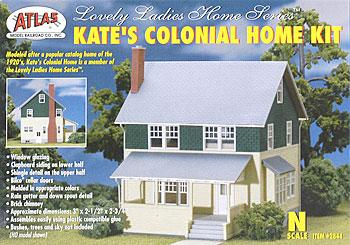 Atlas Kates Colonial Home Kit N Scale Model Railroad Building #2844