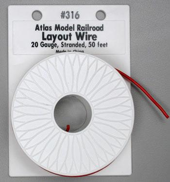 Atlas Layout Wire #20 Red 50 Model Railroad Hook-Up Wire #316
