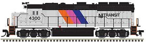 Atlas EMD GP40 Low Nose with Dynamic Brakes - LokSound and DCC - Gold NJ Transit 4301 (silver, black, blue, magenta, orange) - N-Scale