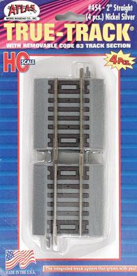 Atlas 2 Straight True-Track (4) -- HO Scale Nickel Silver Model Train Track -- #454