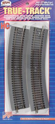 Atlas 22 Radius True-Track (4) -- HO Scale Nickel Silver Model Train Track -- #463
