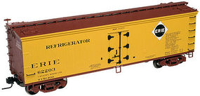Atlas 40 Wood Reefer Erie #62200 (yellow, Boxcar Red) N Scale Model Train Freight Car #50001260
