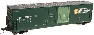 Atlas 53 Double Plug-Door Boxcar British Columbia Railway N Scale Model Train Freight Car #50001403