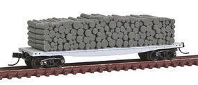 Atlas 42 Pulpwood Flatcar w/Closed Ends & Load Undecorated N Scale Model Train Freight Car #5000142