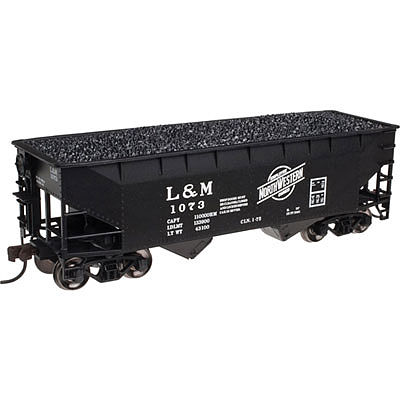 Atlas 2 Bay Offset Hopper L&M #1073 -- N Scale Model Train Freight Car -- #50002158