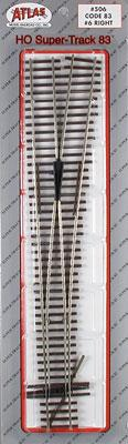 Atlas Code 83 #6 Turnout RH HO Scale Nickel Silver Model Train Track #506