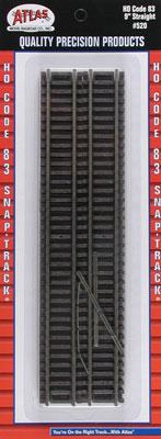 Atlas Code 83 9 Straight (6) -- HO Scale Nickel Silver Model Train Track -- #520