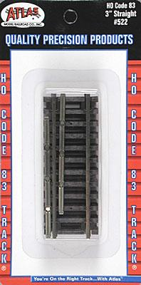 Atlas Code 83 3 Straight N/S Track HO Scale Nickel Silver Model Train Track #522