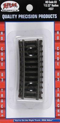 Atlas Code 83 Snap Track 1/3 Section - 22 Radius HO Scale Nickel Silver Model Train Track #537