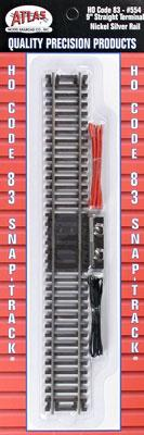 Atlas Code 83 9 Straight Terminal Track -- HO Scale Nickel Silver Model Train Track -- #554