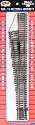 Atlas Code 83 #6 CL Turnout Left Hand -- HO Scale Nickel Silver Model Train Track -- #563