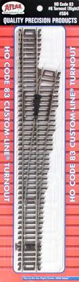Atlas Code 83 #6 CL Turnout Right Hand HO Scale Nickel Silver Model Train Track #564